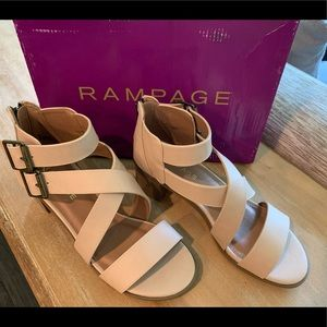 Rampage Havarti Strappy Heel Nude Smooth Size 8